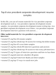 Top 8 vice president corporate development resume samples In this file, you  can ref resume ...