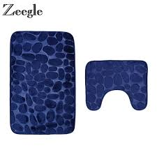 zeegle pebble embossed 2pcs set bathroom carpets anti slip bathroom floor mats toilet rugs bath mat
