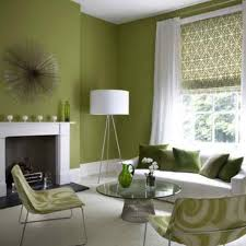 Interior:Enviable Green Paint Idea Of Retro Living Room Feat Damask Window  Shades And Round