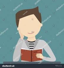 young man reading an open book and smiling vector ilration flat design
