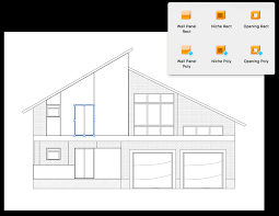 floor plan of a two storied house with a custom roof interior elevation views
