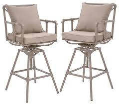 tallahassee outdoor adjustable height swivel bar stools set of 2 patio swivel bar stools l95