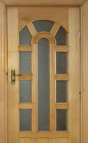 interior light brown wooden door with frozen glass on the middle plus bars plus golden