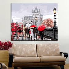 canvas diy by numbers oil painting frame for living room landscape on foreign city bridge coloring