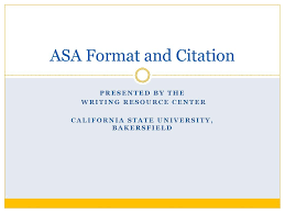 Asa Format And Citation Ppt Download