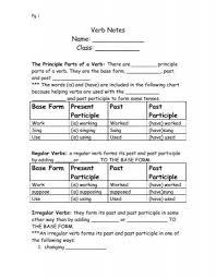 Verb Chart Present Past Past Participle Verb Tenses Notes
