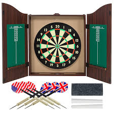 Dart Board Cabinet With Chalkboard Amazoncom Gameroom Dartboard Cabinet Set With Realistic Walnut