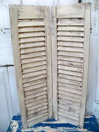 distressed shutters wall decor vintage painted farmhouse white shutter wooden