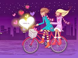 love is cute couple riding bicycle cartoon whatsapp