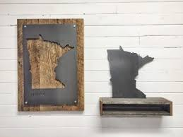 reclaimed wood and metal minnesota state sign portrait