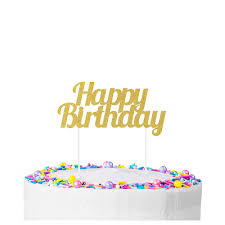 Gold Glitter Happy Birthday Cake Topper 7in X 3in Party City Canada