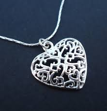 sterling silver small filigree heart necklace