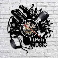 Record Gifts 1piece Music Is My Life Vinyl Record Wall Clock Musical Instruments