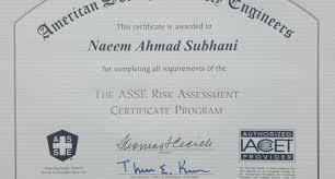 asse authorized provider for risk assessment training naeem  asse authorized provider for risk assessment training naeem subhani csp pulse linkedin