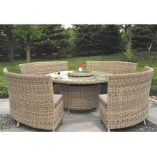 modena 8 12 person rattan garden dining set with lazy susan