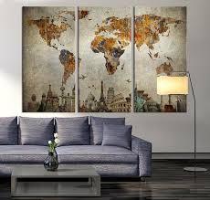 world map wall art canvas