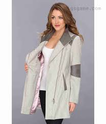 calvin klein womens asymmetrical coat w faux leather trim cw385990 light grey coats