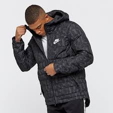 latest nike sportswear down fill hoo mens black jacket on