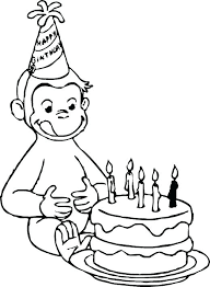 Curious George Colouring Pages To Print Pictures Color Birthday