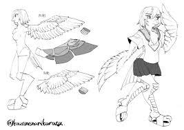 鳥ケモの羽設定自分用 殻炭 さんのイラスト ニコニコ静画 イラスト