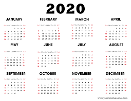 Free 2020 Monthly Calendar Template Free 2020 Printable Calendar Create Editable Yearly
