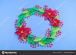 Christmas Paper Flower Wreath Christmas Wreath Paper Flowers Poinsettia Favorite Hobby Manual Work