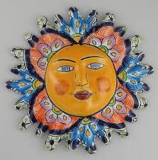 mexican room decor talavera mexican talavera ceramic sun face wall decor hanging pottery folk art