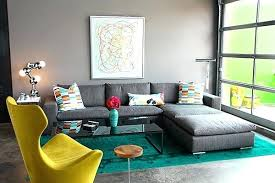 turquoise overdyed rug modern living room gray sofa green rug gray wall paint nuloom vintage inspired