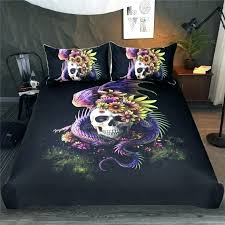 skull comforter set queen sugar dragon flower bedding king size sets twin full bed skeleton duvet