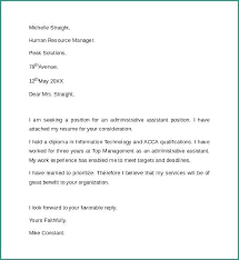 Sample Cover Letter For Administrative Assistant Sample Cover Letter For Administrative Assistant Position