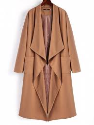 unique belted waterfall trench coat dark camel l