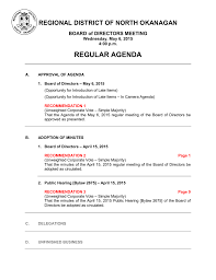 Regular Agenda Regional District Of North Okanagan Board Of