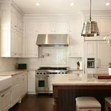 kitchen backsplash white cabinets. Elegant L-shaped Kitchen Photo In Atlanta With A Farmhouse Sink, Paneled  Appliances, Backsplash White Cabinets Houzz