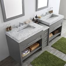grey double vanity.  Double Bolzana Grey 84inch Double Vanity With Carrara White Marble Top And Mirrors And Overstockcom