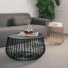 modern round metal coffee table