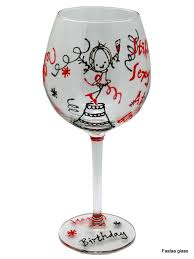 y at 60 painted birthday wine glass