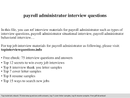 Payroll Administrator Cover Letter Payroll Administrator Interview Questions