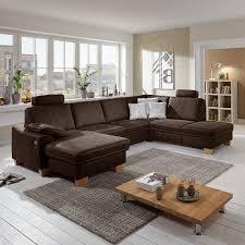In Sofa Braun Stick Polstermöbel Wohnlandschaft Stoff Schoko