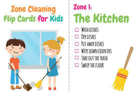 Zone Cleaning Chart For Kids Printable Zone Cleaning Chore Charts For Kids