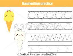 Penmanship Practice Sheet Handwriting Practice Sheet Educational Children Game Printable Worksheet For Kids Tracing Lines And Shapes