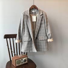 Mooirue Spring Blazer Slim Korean <b>Restore</b> Plaid Suit Loose Suit ...