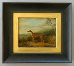 antique dog oil painting