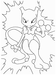 Small Picture Mewtwo with Electricity Coloring Page Download Print Online