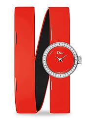 Dior - La D de Dior <b>Diamond</b> & Patent Leather Watch - saks.com
