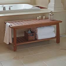 The Brazilian Eucalyptus Bathroom Bench - Hammacher Schlemmer