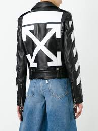 off white logo print biker jacket black off white women clothing jackets off white