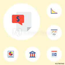 Bill Chart App Set Of Analytics Icons Flat Style Symbols With Bill