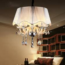 country 5 light crystal pendant chandelier with drum shade