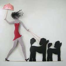 large metal wall art poodle decor umbrella lady walking dogs recycled metal wall art 36 x on red umbrella metal wall art with large metal wall art poodle decor umbrella lady walking dogs