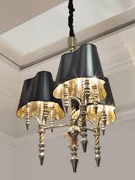 signature collection lighting elegant twisted stem chandelier chromed brass black silk shades 9 e27 lights h 87 x 90 cm special order design